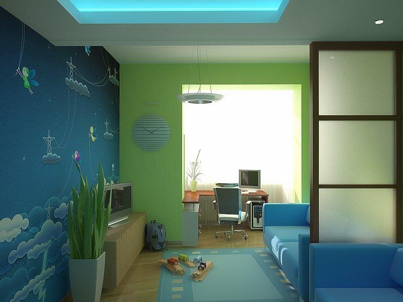 Интерьер детской спальни после объединения с балконом