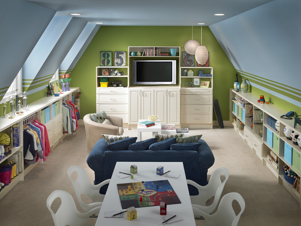 Дизайн детской для двоих в мансарде частного дома