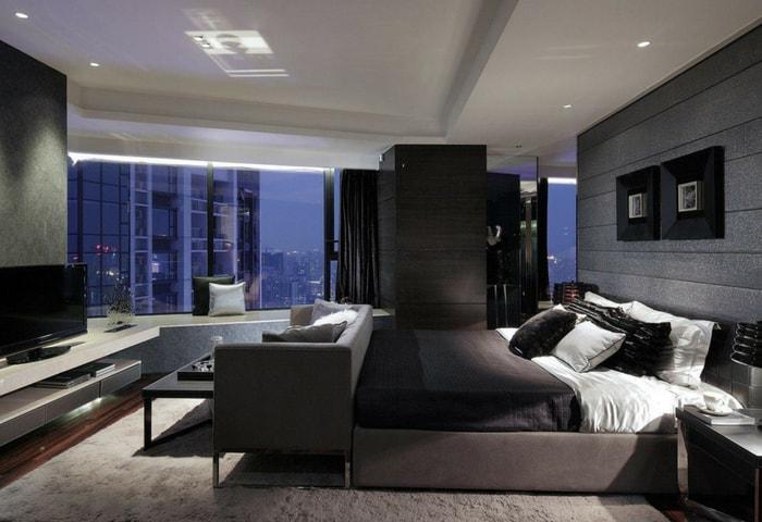 Ремонт спальни в стиле Хай-тек в тёмных цветах с использованием естественных фактур