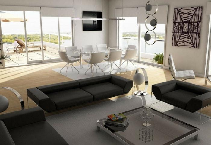 Ремонт гостиной в стиле Хай-тек с использованием декоративных потолочных конструкций