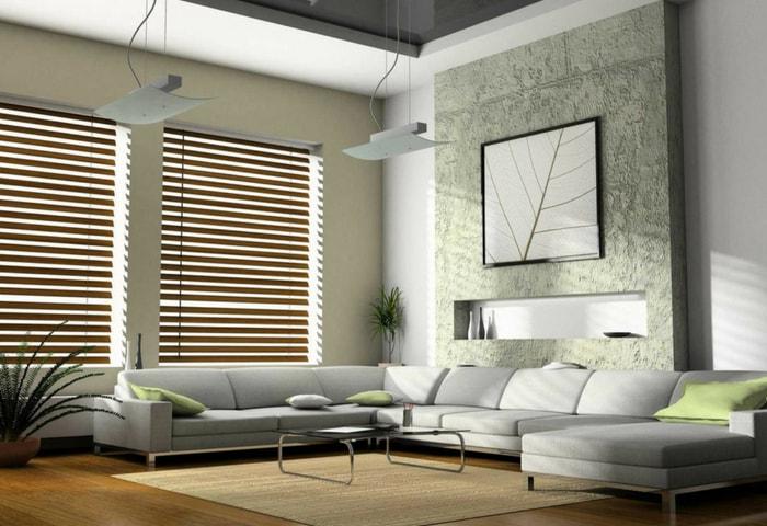 Ремонт гостиной в стиле Хай-тек в нежно-зелёных цветах с белыми акцентами