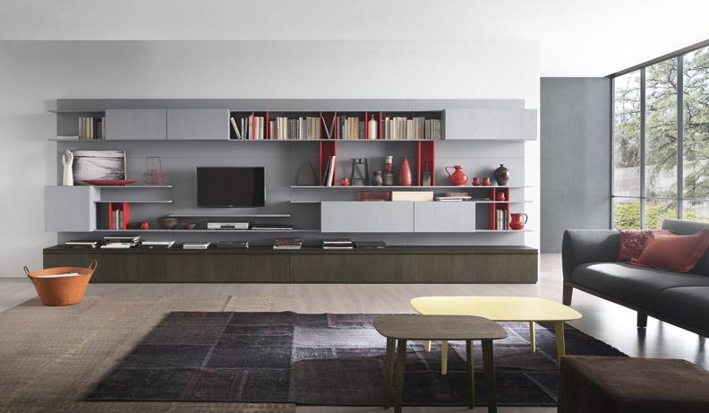 Стильная мебель в гостиной комнате хай тек стиля в интерьере на фото примере работы