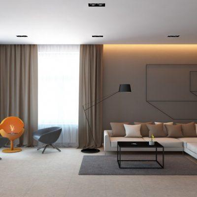 Стильная мебель в гостиной комнате хай тек стиля в интерьере на фото примере