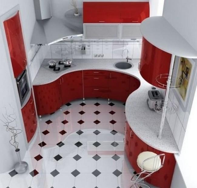 Красный с белом интерьер