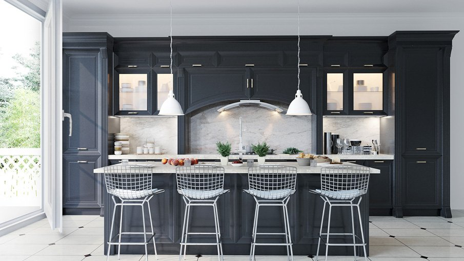 Барная стойка-остров для просторной кухни