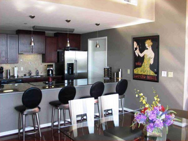 барная стойка между кухней и гостиной фото