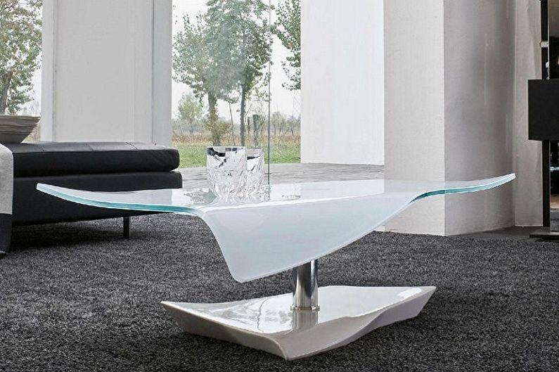 Виды стеклянных журнальных столиков - В зависимости от размеров и форм