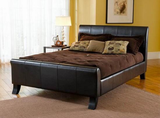 Черная кожаная кровать фото