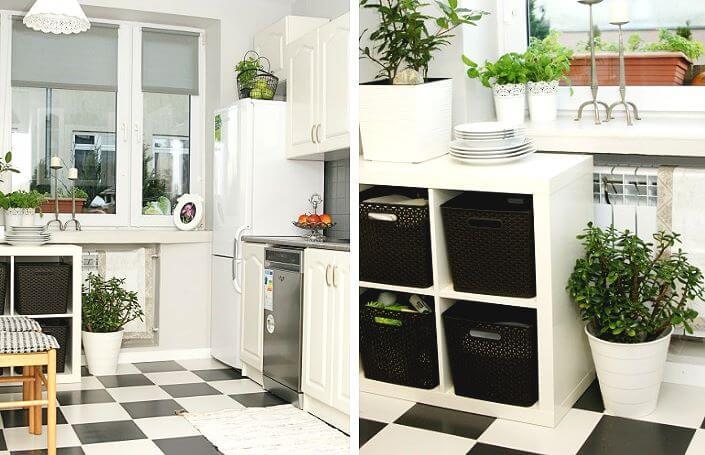 ремонт маленькой кухни с помощью краски