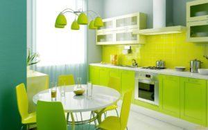 кухня в зеленых цветах
