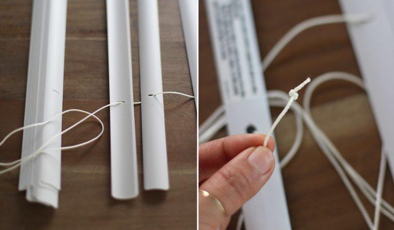 Развязав все мешающие узлы освобождаем веревки от лишних ламелей