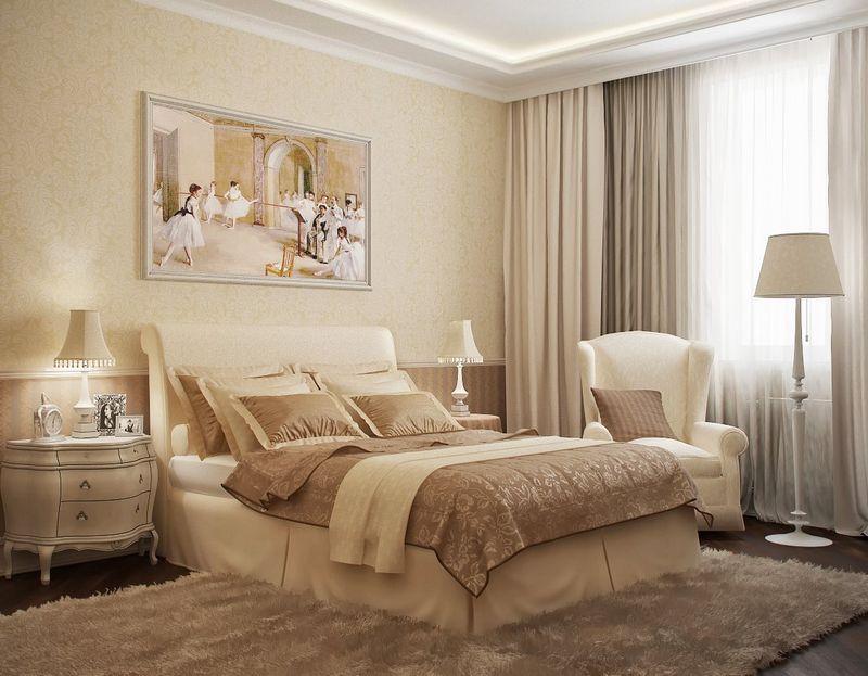 Дизайн спальни с белой мебелью