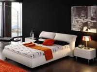 цветовые акценты в черной спальне