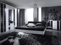 сочетание черного белого и серого в интерьере спальни