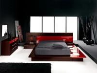 сочетание черного и красного в спальне