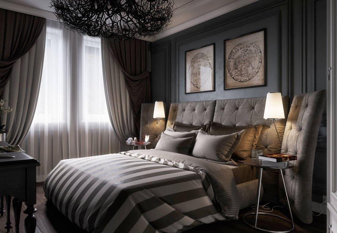 Роскошная спальня в темных тонах создает атмосферу размеренного спокойствия