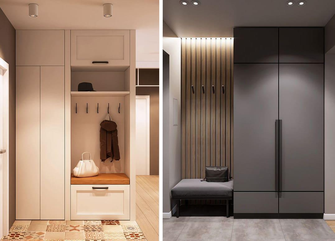 Современная мебель для прихожей со светлыми и темными фасадами выглядит более презентабельной