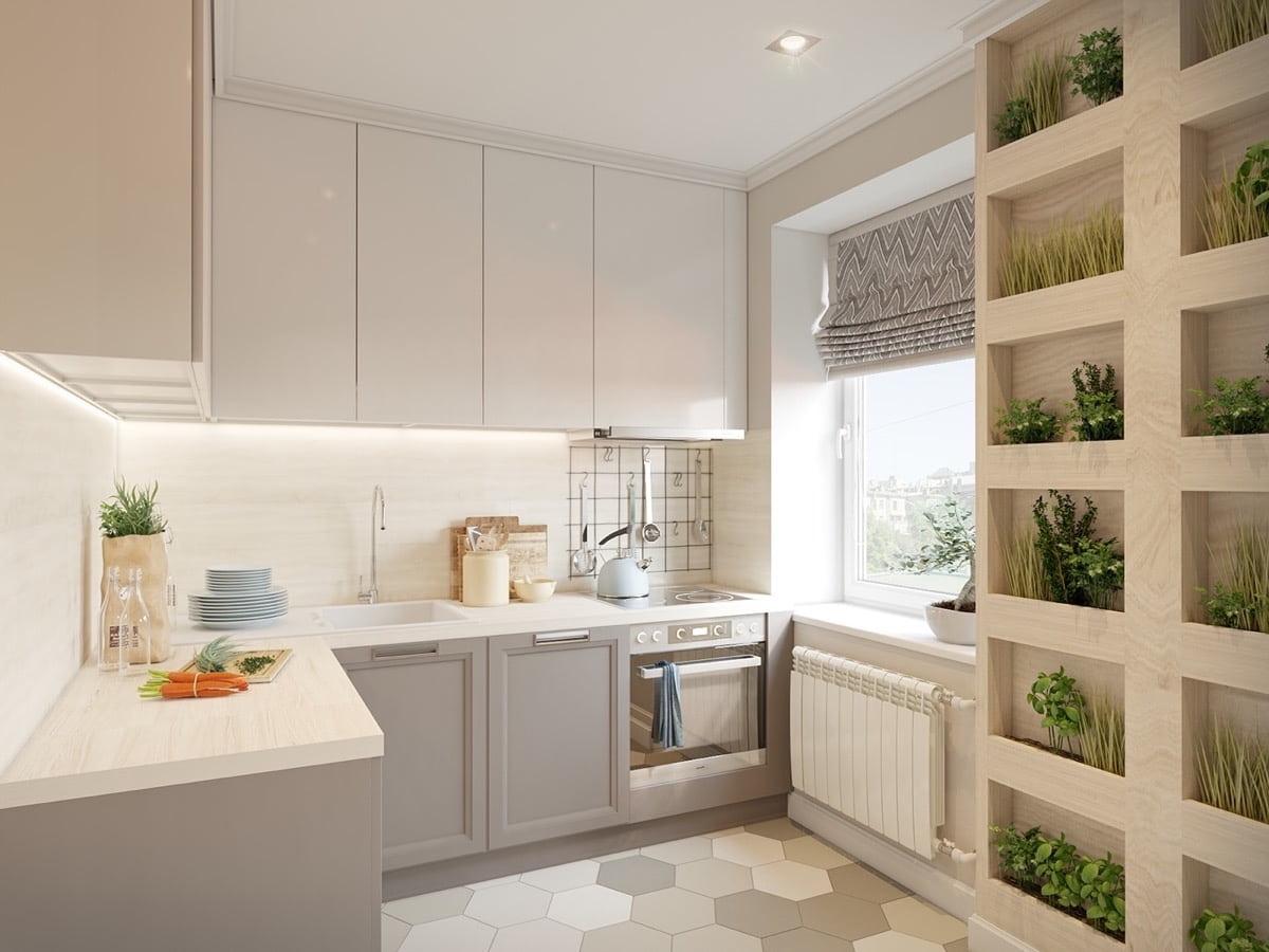 Симпатичный дизайн угловой малогабаритной кухни в эко-стиле