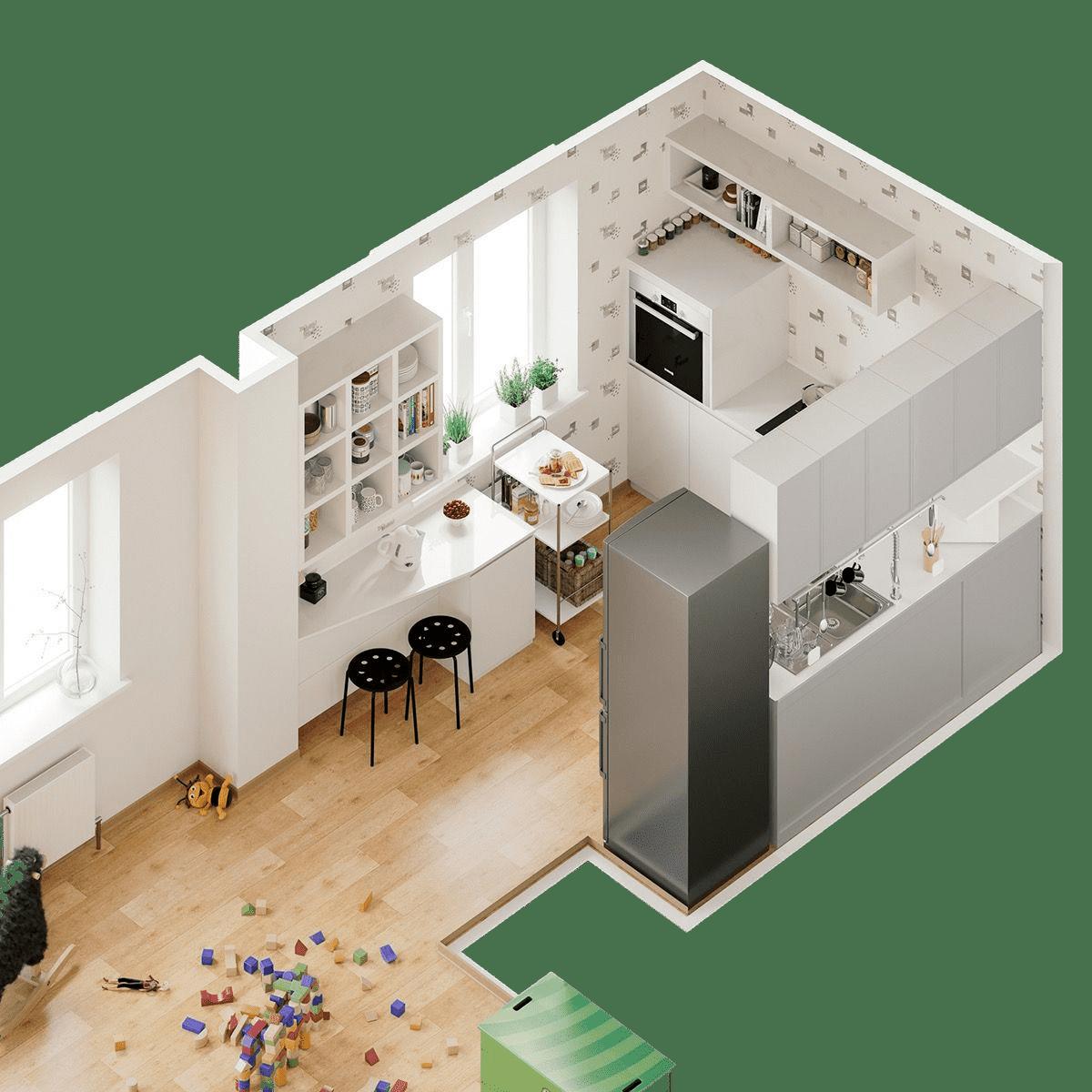 Дизайн проект интерьера маленькой кухни совмещенной с гостиной комнатой