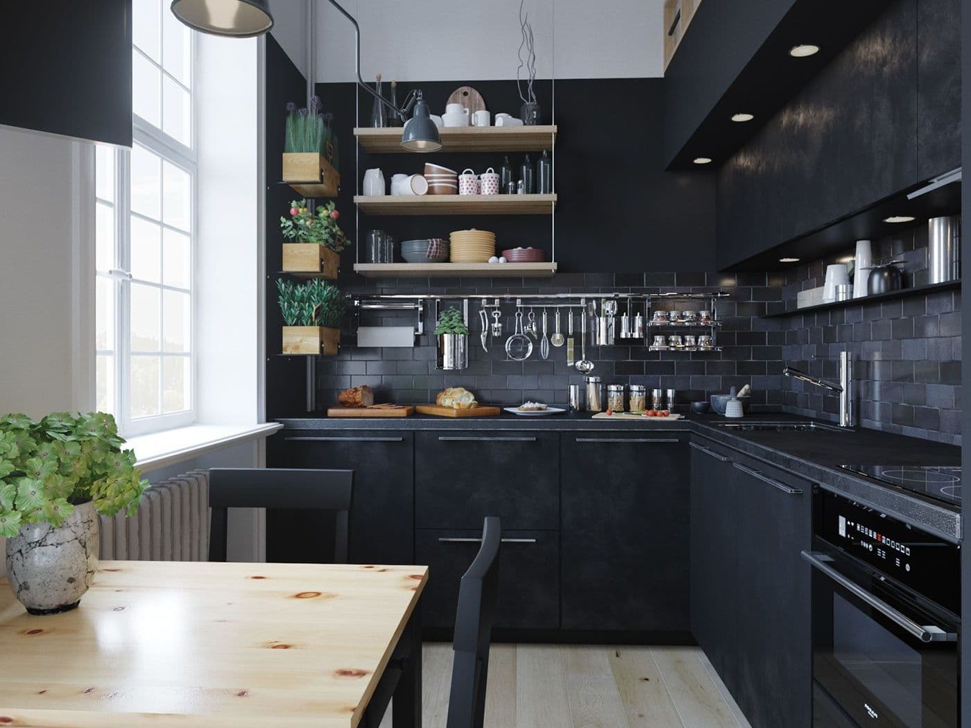 Грамотная организация хранения кухонных ящиков, шкафов и принадлежностей формирует атмосферу сбалансированного пространства