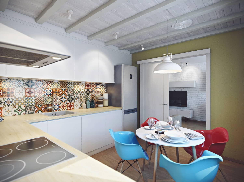 Раздвижные двери на кухне не только экономят пространство, но и делают интерьер более выразительным и практичным