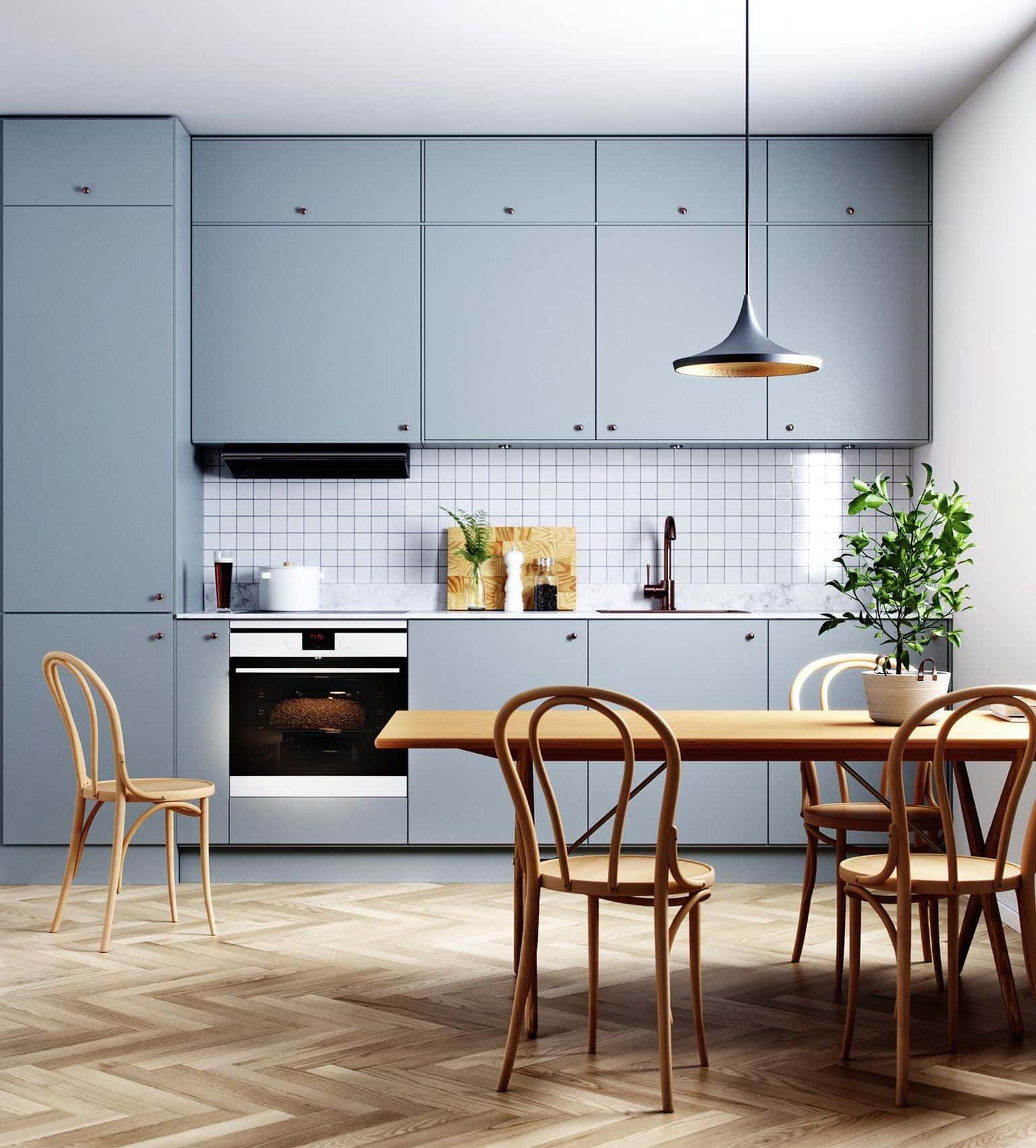 Гармоничное сочетания цвета пола и кухонного гарнитура - является признаком хорошего тона и безупречного вкуса владельца