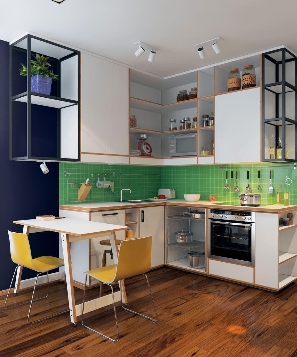 Использование зеленого цвета для оформления кухонного фартука - поможет освежить интерьер, став его изюминкой, притягивающей взгляд