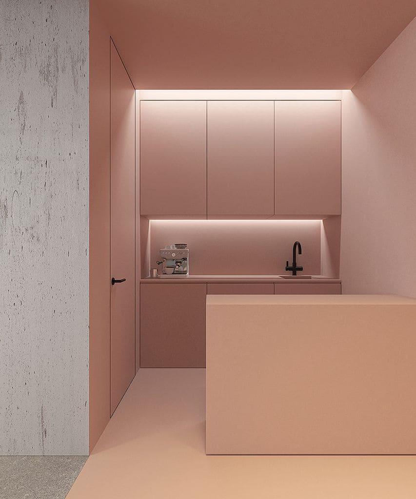 Скрыты монтажа светодиодной подсветки позволит не обременять интерьер лишними элементами