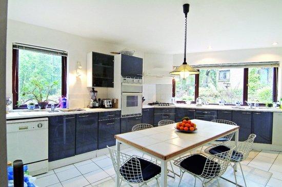 синяя кухня без навесных шкафов
