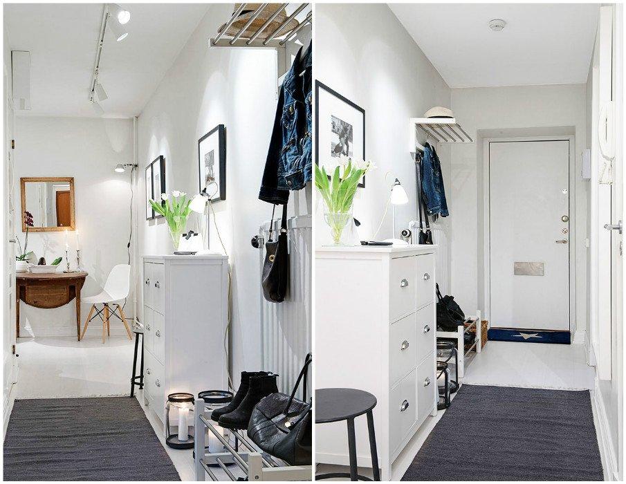 Крашеный потолок с направленным точечным светом в узкой прихожей