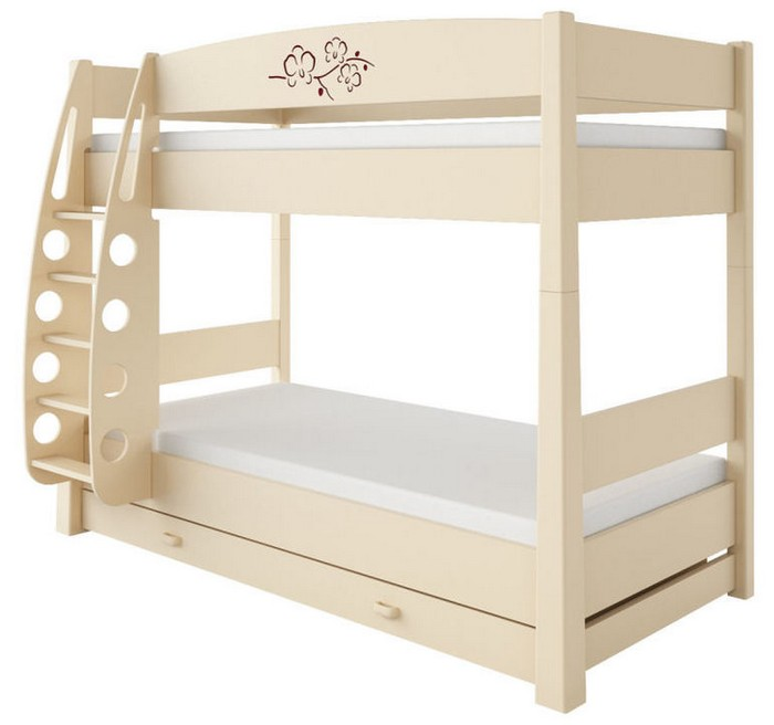 Двухъярусная кровать светлого тона