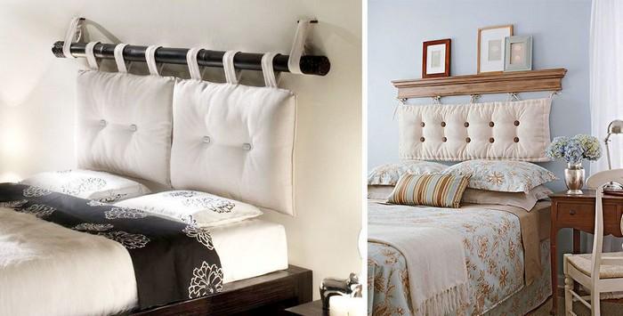 Мягкие подушки у кровати в виде изголовья