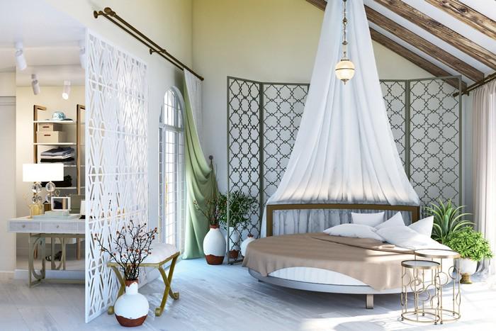 Круглая кровать в интерьере спальни с восточными нотками