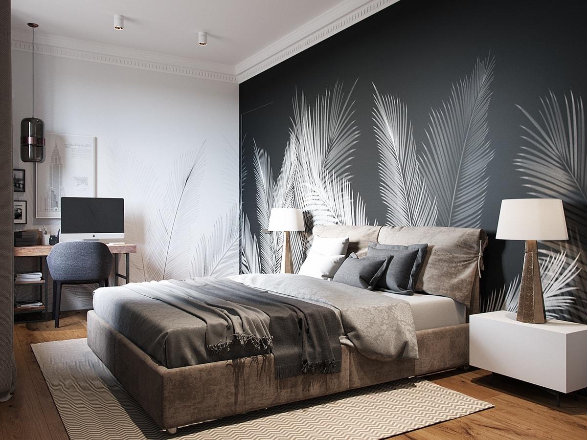 Контрастная стена повторяет основной рисунок на стенах