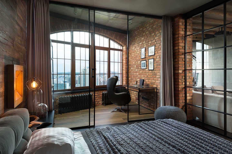 Панорамная перегородка из стекла хорошо впишется в интерьер стиля лофт