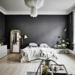 черно белый интерьер спальной комнаты