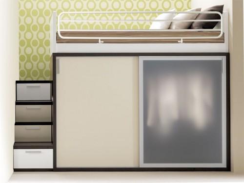 Двухуровневая кровать со шкафом-купе