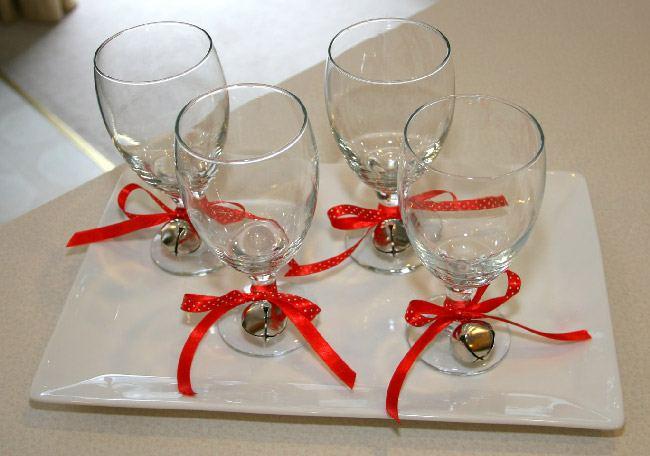 Новогоднее украшение бокалов