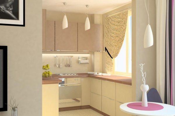 стены гостиной и гарнитур на кухне в одном цветовом рещении