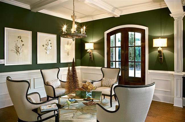Комфортная гостиная в оливковых тонах.