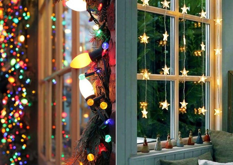 Новогодние гирлянды - классический вариант украшения оконного проема