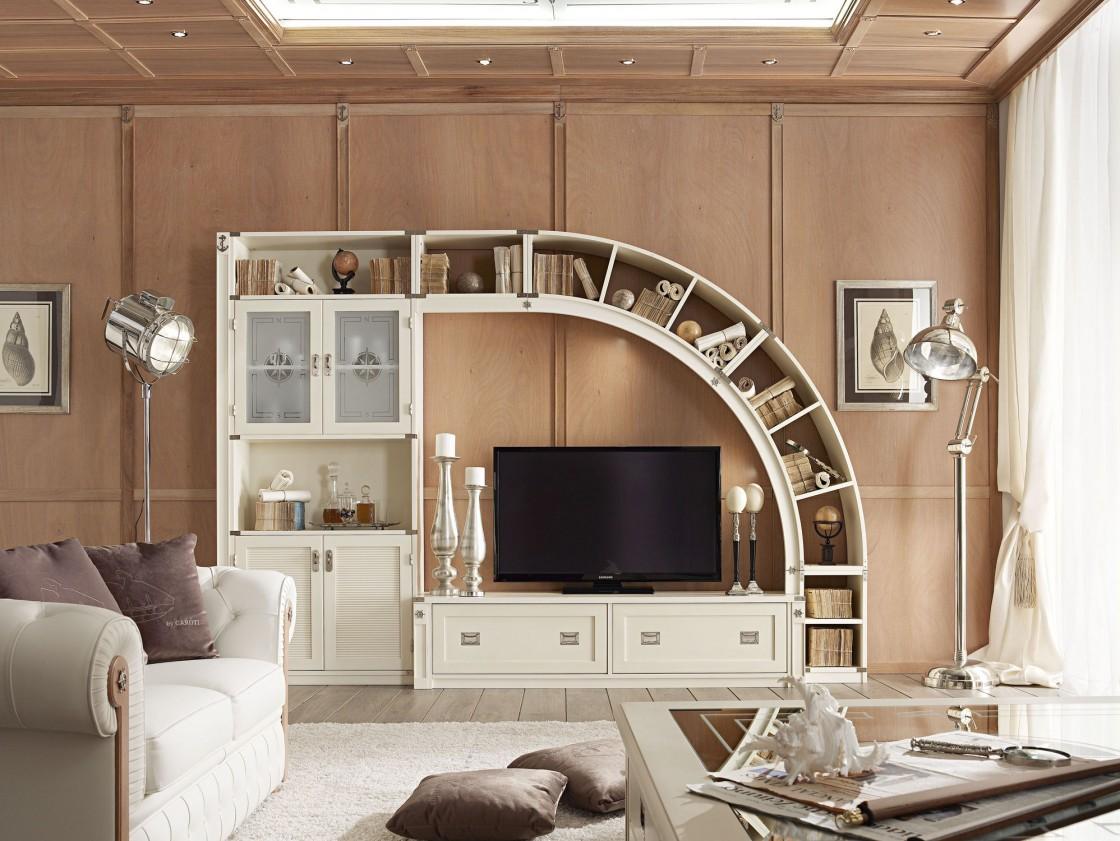 Изогнутая корпусная мебель для гостиной