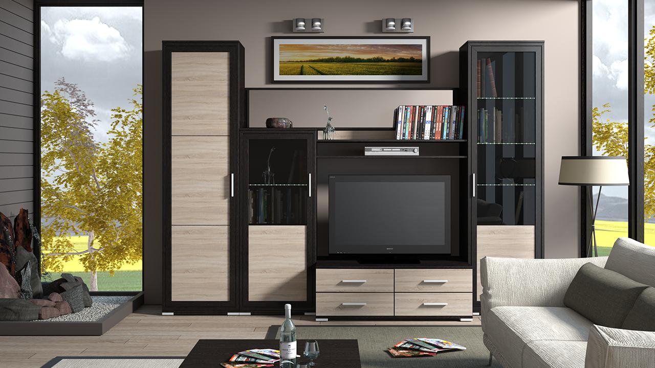 Корпусная мебель для гостиной функциональная