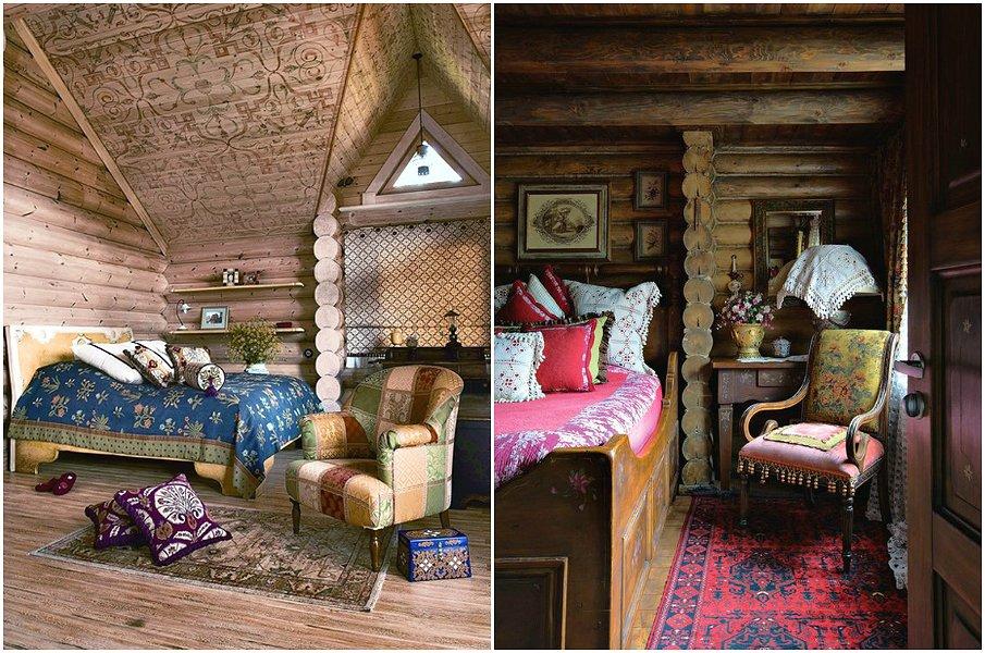 Атмосферные интерьеры спален в русском стиле