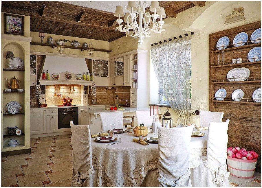 Осовремененная версия русского стиля в интерьере кухни