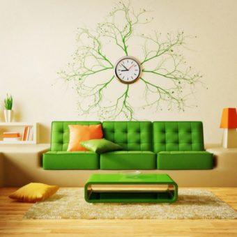 Часы для гостиной — интересный декор для дизайна гостиной (65 фото идей)