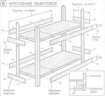 Материалы для работы при сборке двухъярусной кровати