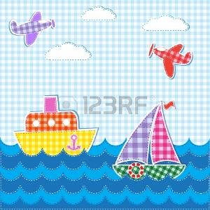 Baby background with aircrafts and ships. Vector textile stickers Иллюстрация