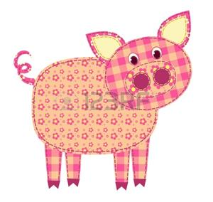 Application pig isolated on white. Patchwork series. illustration.