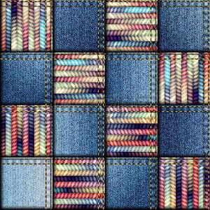 Seamless background pattern. Patchwork quilt from scraps of denim and knit. Иллюстрация
